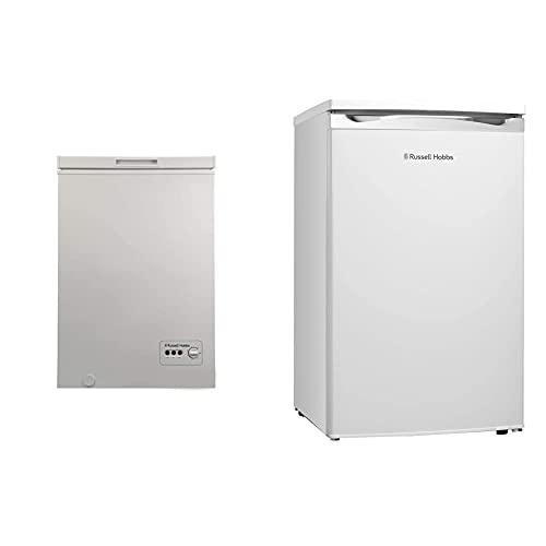 Russell Hobbs RHCF103 Freestanding Chest Freezer 99L, White & RHUCLF2W White Under Counter 50cm Wide Freestanding Larder Fridge, Free 2 Year Guarantee