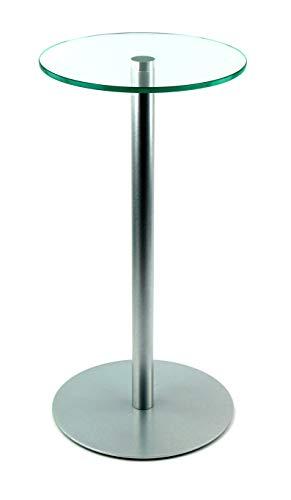 freeroom24 Blumensäule/Beistelltisch/Glastisch/Tisch/rund/Ø 30cm x H. 60cm / Silber Brillant