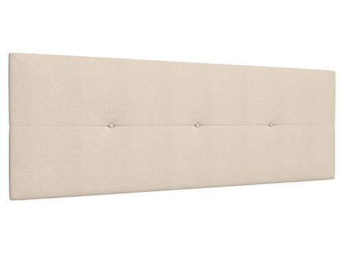 LA WEB DEL COLCHON - Cabecero tapizado Julie para Cama de 150 (160 x 55 cms) Beige Claro Textil Suave