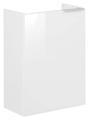 FACKELMANN Mini-Waschtischunterschrank Kara/Badschrank mit Soft-Close-System/Maße (B x H x T): ca. 44 x 60 x 25 cm/Türanschlag Links/Korpus: Weiß matt/Front: lackiertes Glas in Weiß
