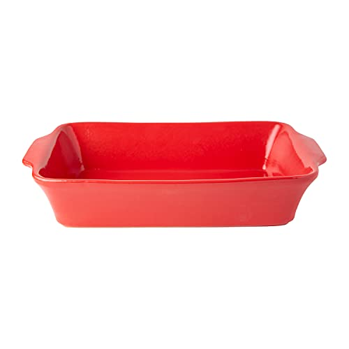 """Modern Ceramic Bakeware Dish 9x13"""" – Quality Stoneware Made in Portugal - Large Casserole Dish for Baking & Cooking – Oven & Freezer Safe – Individual Serving Rectangular Baking Pan for Cakes, Lasagna & More - Red"""