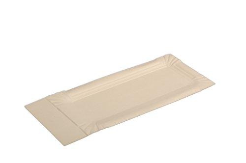 Semy Pappteller, rechteckig/spitz, 8x18 plus 3 cm, beschichtet, 1er Pack (1 x 250 Stück)
