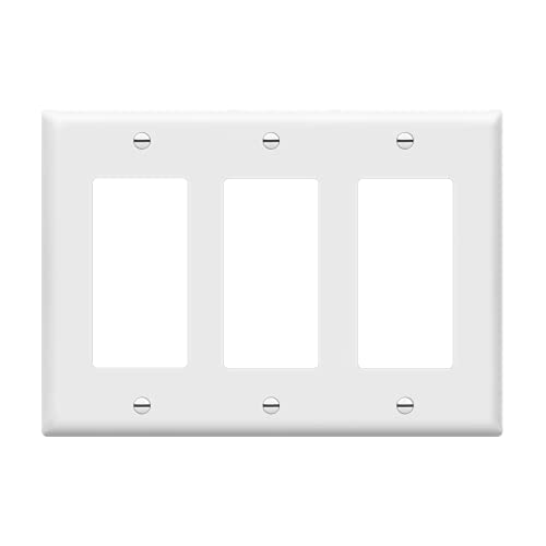 ENERLITES Decorator Light Switch or Receptacle Outlet Wall Plate, Size 3-Gang 4.50' x 6.38', Polycarbonate Thermoplastic, 8833-W, White