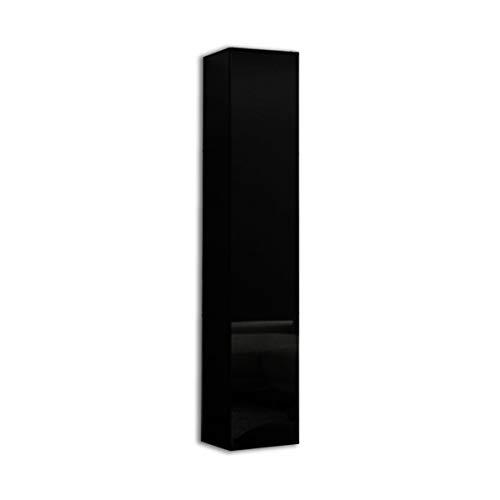 PLATAN ROOM Badezimmer Hängeschrank Wandschrank 105/ 160cm hoch Badhängeschrank mit Fronten in Hochglanz und Push-to-Open Funktion (Schwarz Matt/Schwarz Hochglanz, 160 x 30 x 32)