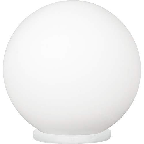 EGLO Tischlampe Rondo, 1 flammige Tischleuchte, Nachttischlampe aus Glas, Farbe: Weiß, Glas: Opal matt weiß, Fassung: E27, inkl. Schalter