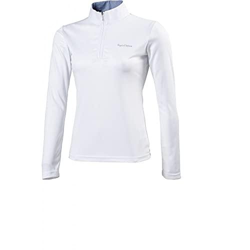 Equi-Theme/Equit'M 987023101 Mesh, Polo Manica Lunga Unisex-Adulto, Bianco/Righe Blu/Bianco Contrasti, Taglia Unica