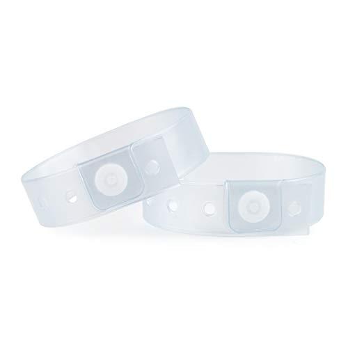 Set de 100 pulseras de plástico/vinilo para eventos, personalizables e impermeables (transparente)