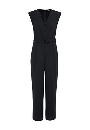 HALLHUBER Jumpsuit in Wickel-Optik weit geschnittene Hosenbeine schwarz, 38