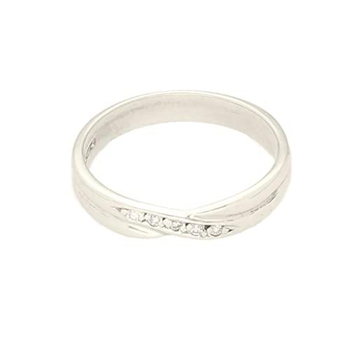 Anillo de eternidad de oro blanco de 9 quilates con diamante de 0,05 quilates (talla K 1/2) de 3,5 mm de ancho | Anillo de lujo para mujer