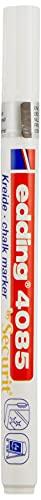 edding 4085 Marqueur craie liquide - blanc - 1 feutre craie liquide - pointe ronde 1-2 mm - feutre craie effacable pour écrire sur les vitres,le verre - feutre craie ardoise aux couleurs opaques
