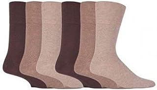 3 Pairs Brown Mens Gentle Grip Easy Fit Loose Top Honey Comb Non elastic Cotton Socks (Brown)