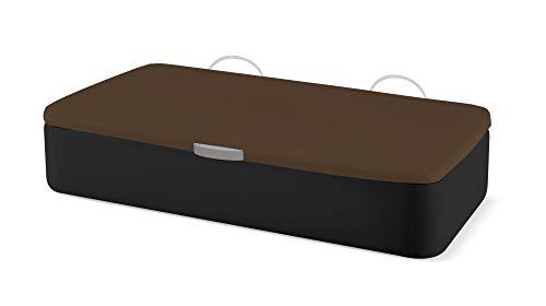 Naturconfort Canapé Abatible Ecopel Negro Premium Tapizado Apertura Lateral Tapa 3D Chocolate 105x190cm Envio y Montaje Gratis