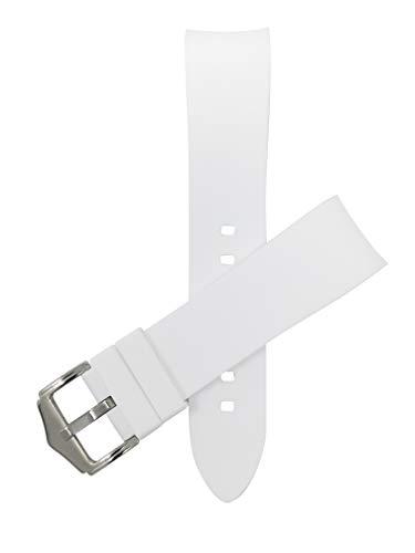 Bandini Bandas de reloj de silicona, extremo curvado, correas de repuesto de goma suave, impermeables, hebilla de acero inoxidable, color blanco, 21 mm