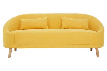Premier Housewares Yellow Linen Sofa 2 Seater Small Sofas for Small Rooms Padded Small Couch Seats Small Sofa 2 Seater Sofas for Living Room