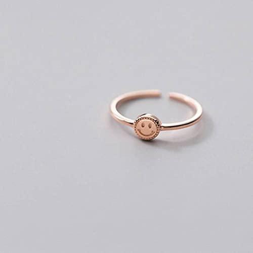 Good dress Anillo de plata S925, anillo de dedo con índice de cara sonriente simple anillo abierto oro y rosa, apertura ajustable