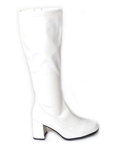 Damen-GoGo-Stiefel für Kostümfeiern, 60er/70er-Retro-Look, Mehrfarbig - weiß - Größe: 36