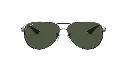Ray Ban Unisex Sonnenbrille, RB8313 004/N5 58, Gr: 58, Mehrfarbig (Gestell: Gunmetal/Grau/Grün, Gläser: Polarized Grün Klassisch 004/N5)