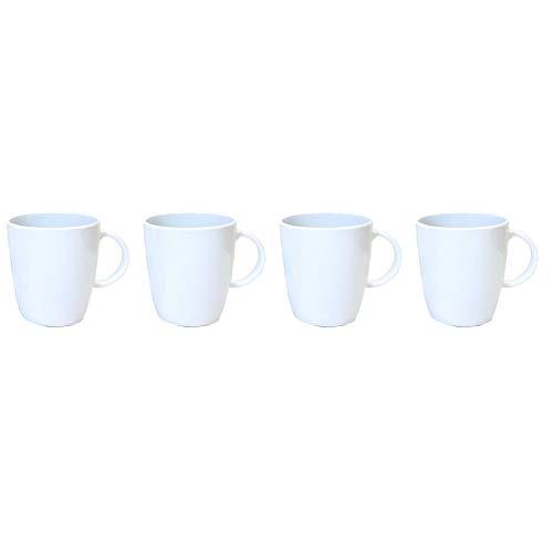Melamin Geschirr 4 Becher 350ml ideal für Camping weiß mit Anti-Slip Trinkbecher Kaffeetasse Kaffeebecher Tasse Campinggeschirr Picknick Kindergeschirr modernes Melamingeschirr Outdoor Tassen