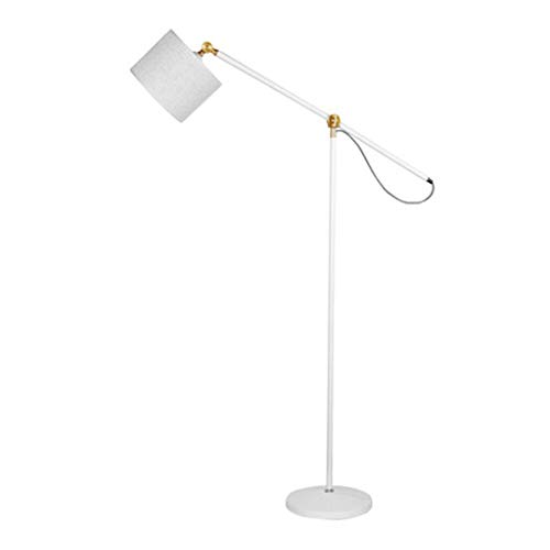 Lámpara de pie Lámpara de pie industrial para salas de estar y dormitorios, lámpara de lectura de granja, de pie, lámpara de poste interior de brazo ajustable Luz de Pie (Color : White)