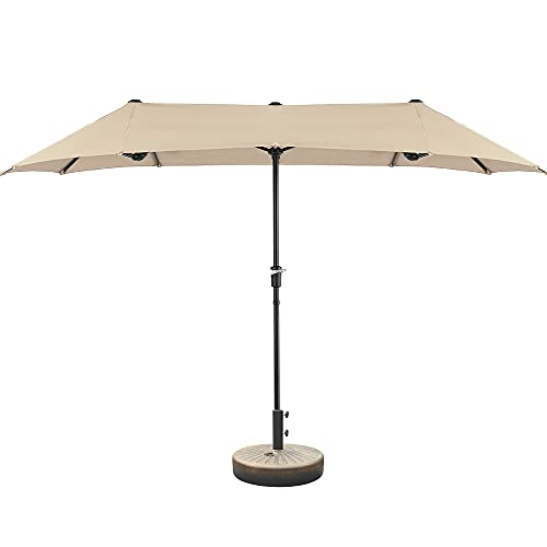 U-Eway 13 Ft Patio Double Sided Umbrella Outdoor Extra Large Market Umbrella with Crank Handle, Outdoor Twin Table Umbrella with Crank Waterproof Stand Base Plate Holder Sand Water Fill Spouts (Beige)