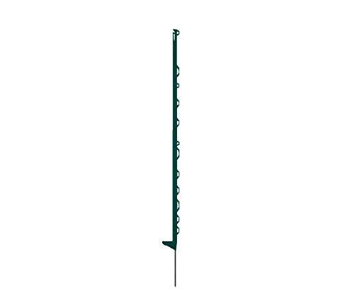 horizont Weidezaunpfähle Kunststoff grün, Kunststoffpfähle 10 Stück Höhe 145 cm, mit 12 Ösen für Bänder, Seile, Litzen, mit Einzeltritt, Weidezaunpfahl Kunststoffpfahl Weidezaun Aufstellpfahl