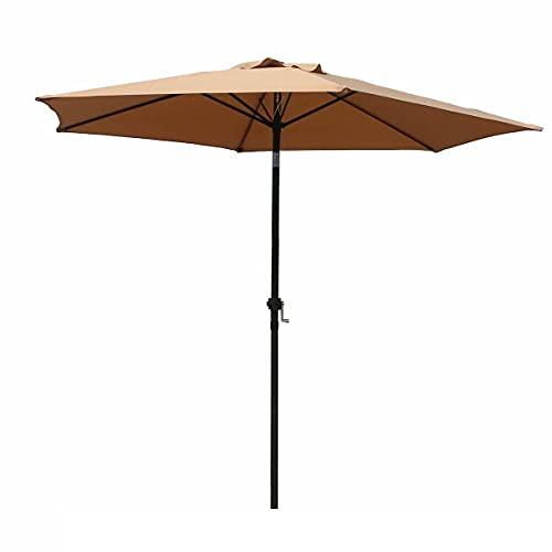 New Patio Umbrella 9' Aluminum Outdoor Patio Market Umbrella Tilt W/Crank 276 color tan Patio umbrella Patio umbrellas Umbrella outdoor patio Outdoor umbrella Cantilever umbrella