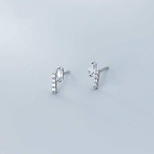 WOZUIMEI Pendientes de Diamantes Cuadrados Simples Y Pequeños Coreanos de Plata S925 Pendientes de Diamantes Completos de Diseño Geométrico IrregularUn par