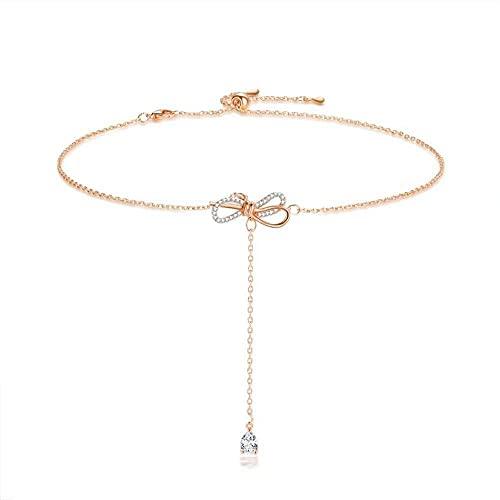 AMOZ Collares Suéter Cadena Gargantilla Collar Cadena Clavicular Collar Mujer Cadena de Clavícula Corta Colgante de Cristal,Mi