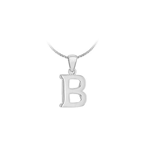 Tuscany Silver Women's Sterling Silver Initial B Pendant on Curb Chain of Length 46 cm/18 Inch