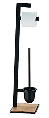 Kela Toilettengarnitur, Oak, Pulverbeschichtetes Metall mit Eichenholz, 24260, Schwarz matt