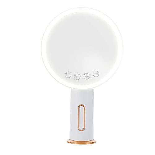 ASKHG Espejo de Maquillaje LED Recargable con 3 Tipos de luz Lámpara para Mujer Tocador Giratorio Espejos cosméticos para Dormitorio de Forma Redonda-Blanco