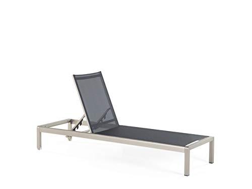 Beliani Moderne Gartenliege verstellbare Rückenlehne Textilene/Aluminium schwarz Fossato