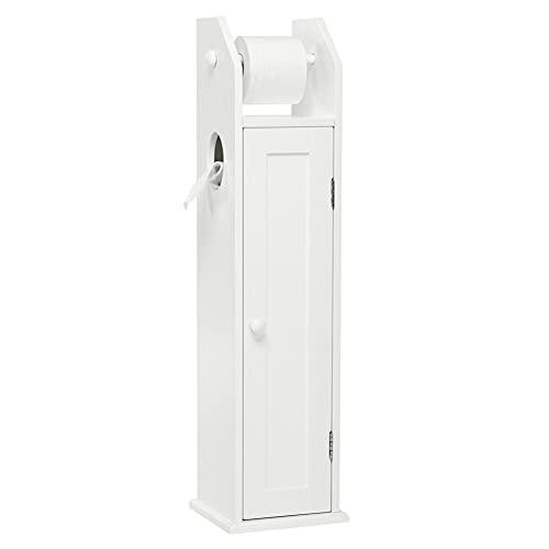 Meerveil Toilettenpapierhalter Stehend, Freistehende Badregal Seitenschrank aus Holz Weiß 78x20x18cm