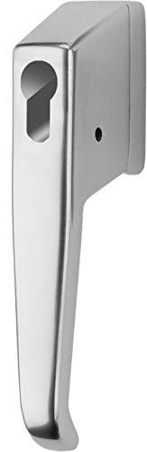 IKON Fenstergriff 158 - vorgerrichtet für Profilhalbzylinder - zur Sicherung der Griffseite - silberfarben