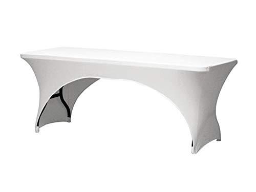 Robuuste en stabiele klaptafel campingtafel van kunststof met witte stretch hoes.
