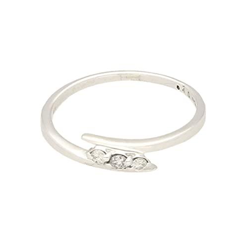 Anillo de mujer de oro blanco de 9 quilates con diamante cruzado de 0,10 quilates (tamaño M) 7 x 2 mm | Anillo de lujo para mujer