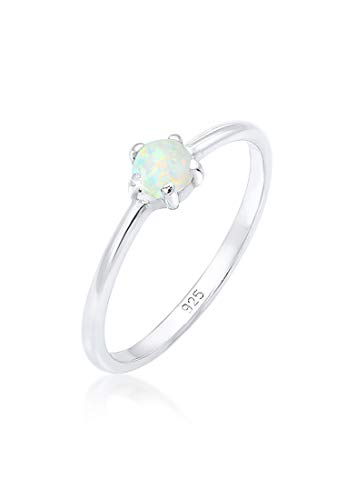 Elli Ring Damen Basic Bandring Synthetischer Opal Geo in 925 Sterling Silber
