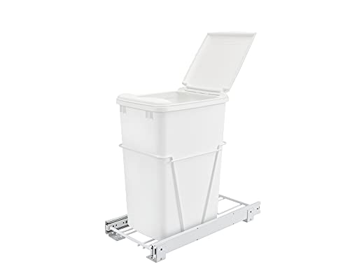Rev-A-Shelf 35 Qrt Pull-Out Waste Container with Lid, Standard, White