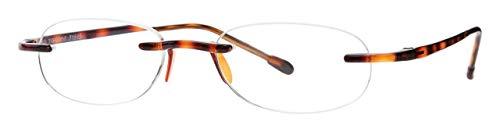 Reading Glasses by SCOJO New York, Original Gels Readers, Rimless Oval Glasses, Tortoise, 2.50x