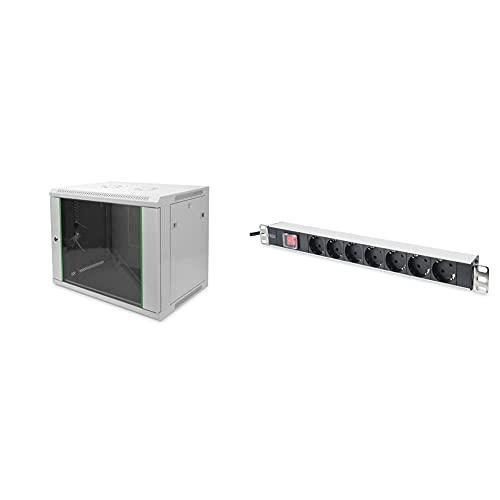 DIGITUS Netzwerk-Schrank 19 Zoll 9 HE - Wandmontage - 450 mm Tiefe - Traglast 60 kg - Grau & 19' Steckdosenleiste - 7 Abgriffe - 1HE - 250VAC - 50/60Hz - 16A - 4000W - Mit Schalter