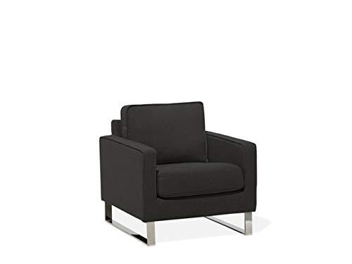 Beliani Retro Sessel Polsterbezug Füße aus Edelstahl Graphitgrau Vind