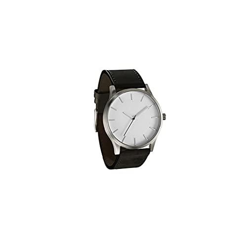 Hombres Reloj de Moda Simple Hombres analógicos Reloj Causal de Cuarzo con Brazalete de Cuero Reloj de Pulsera de Negocios con batería incluida (Cara Blanca, Negro)