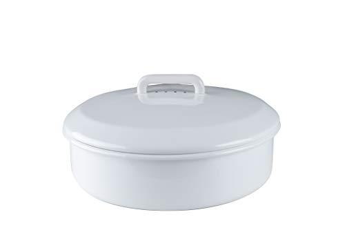 Riess Emaille Brotdose mit Deckel rund 36, weiß