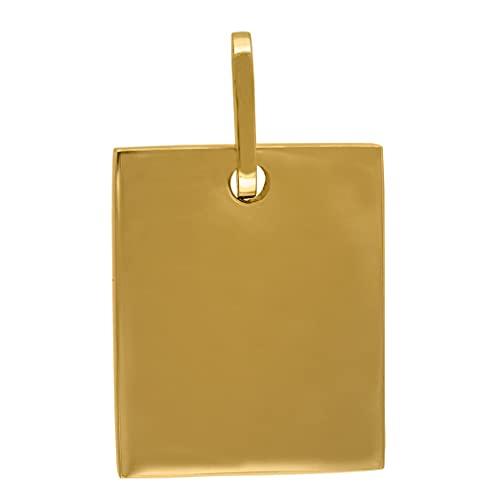 Collar con colgante de acero inoxidable de tono amarillo para hombre, rectángulo, con etiqueta de perro, 22 x 32 mm, joyería de regalo para hombres