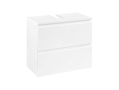lifestyle4living Waschbeckenschrank in Weiß, Hochglanz | Badezimmerschrank mit 1 Klappe und 1 Metall-Auszug