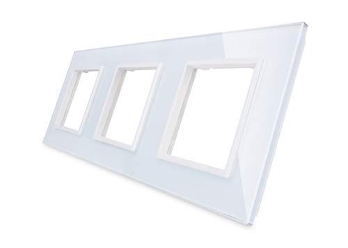 Nur Glasblende 3 Fach LIVOLO Rahmen Glasrahmen für Steckdosen VL-C7-SR/SR/SR-11-A Weiss