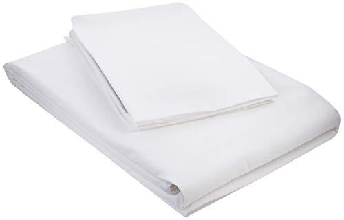 Amazon Basics– Bettwäsche-Set, aus leichter Baumwolle, 155 x 220 cm / 80 x 80 cm, Weiß