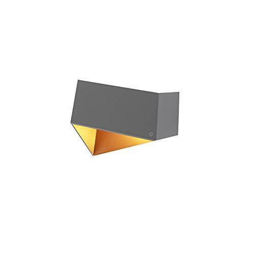 QAZQA Design/Modern Wandleuchte Grau mit Kupfer falten/Innenbeleuchtung/Wohnzimmerlampe/Schlafzimmer/Küche Aluminium Andere LED geeignet G9 Max. 1 x 40 Watt