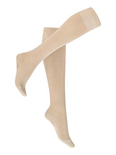 Vogue Support Travel Socks Stützstrümpfe, kniehohe Damen kompression Flugstrümpfe, 1 Paar,Hellbeige (9076 Sand),36-40