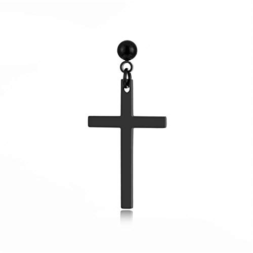 Joyas nuevos pendientes de cruz de acero inoxidable pendientes de acero de titanio de moda para hombres pendientes individuales-negro (uno)